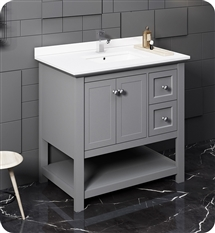 "Fresca Manchester 36"" Gray Traditional Bathroom Cabinet w/ Top & Sink"