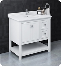 "Fresca Manchester 36"" White Traditional Bathroom Cabinet w/ Top & Sink"