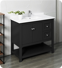 "Fresca Manchester 40"" Black Traditional Bathroom Cabinet w/ Top & Sink"