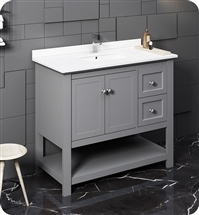 "Fresca Manchester 40"" Gray Traditional Bathroom Cabinet w/ Top & Sink"