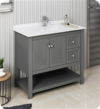 "Fresca Manchester Regal 40"" Gray Wood Veneer Traditional Bathroom Cabinet w/ Top & Sink"