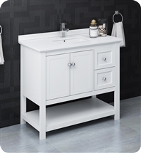 "Fresca Manchester 40"" White Traditional Bathroom Cabinet w/ Top & Sink"