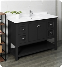 "Fresca Manchester 48"" Black Traditional Bathroom Cabinet w/ Top & Sink"