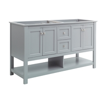 "Fresca Manchester 60"" Gray Traditional Double Sink Bathroom Cabinet"