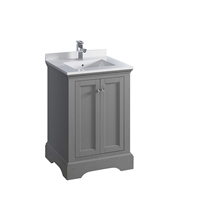 "Fresca Windsor 24"" Gray Textured Traditional Bathroom Cabinet with Top & Sink"