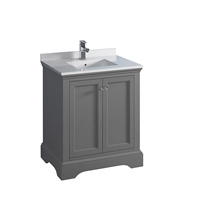 "Fresca Windsor 30"" Gray Textured Traditional Bathroom Cabinet with Top & Sink"