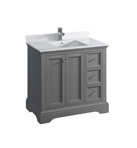 "Fresca Windsor 36"" Gray Textured Traditional Bathroom Cabinet with Top & Sink"