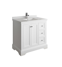 "Fresca Windsor 36"" Matte White Traditional Bathroom Cabinet with Top & Sink"
