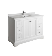 "Fresca Windsor 48"" Matte White Traditional Bathroom Cabinet with Top & Sink"