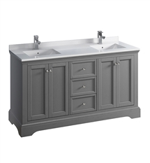 "Fresca Windsor 60"" Gray Textured Traditional Double Sink Bathroom Cabinet with Top & Sinks"