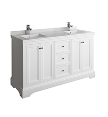 "Fresca Windsor 60"" Matte White Traditional Double Sink Bathroom Cabinet with Top & Sinks"