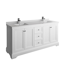 "Fresca Windsor 72"" Matte White Traditional Double Sink Bathroom Cabinet with Top & Sinks"