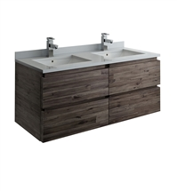 "Fresca Formosa 46"" Wall Hung Double Sink Modern Bathroom Cabinet"