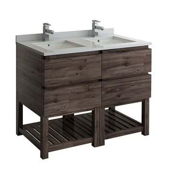 "Fresca Formosa 46"" Floor Standing Open Bottom Double Sink Modern Bathroom Cabinet"