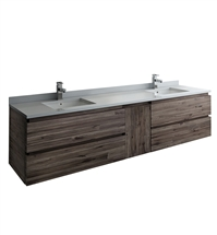 "Fresca Formosa 82"" Wall Hung Double Sink Modern Bathroom Cabinet"