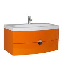 "Fresca Energia 36"" Orange Modern Bathroom Cabinet with Integrated Sink"
