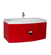 "Fresca Energia 36"" Red Modern Bathroom Cabinet with Integrated Sink"