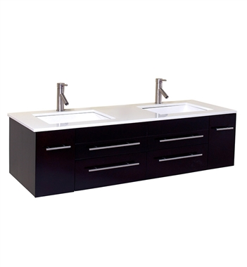 "Fresca Bellezza 59"" Espresso Modern Double Sink Cabinet with Top & Sinks"