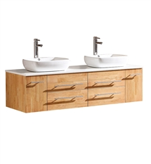 "Fresca Bellezza 59"" Natural Wood Modern Double Sink Cabinet with Top & Vessel Sinks"