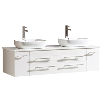 "Fresca Bellezza 59"" White Modern Double Sink Cabinet with Top & Vessel Sinks"