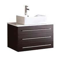 "Fresca Modello 32"" Espresso Modern Bathroom Cabinet with Top & Vessel Sink"