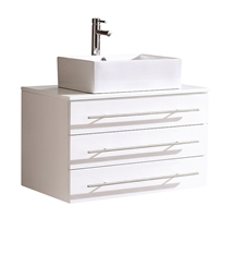 "Fresca Modello 32"" White  Modern Bathroom Cabinet with Top & Vessel Sink"