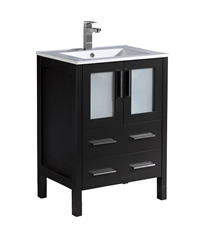 "Fresca Torino 24"" Espresso Modern Bathroom Cabinet with Integrated Sink"