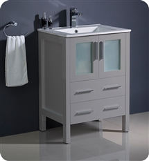 "Fresca Torino 24"" Grey Modern Bathroom Cabinet with Integrated Sink"