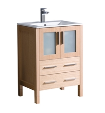 "Fresca Torino 24"" Light Oak Modern Bathroom Cabinet with Integrated Sink"