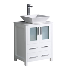 "Fresca Torino 24"" White Modern Bathroom Cabinet with Top & Vessel Sink"