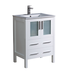 "Fresca Torino 24"" White Modern Bathroom Cabinet with Integrated Sink"