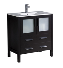 "Fresca Torino 30"" Espresso Modern Bathroom Cabinet with Integrated Sink"