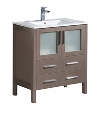 "Fresca Torino 30"" Gray Oak Modern Bathroom Cabinet with Integrated Sink"