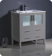 "Fresca Torino 30"" Grey Modern Bathroom Cabinet with Integrated Sink"
