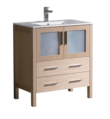 "Fresca Torino 30"" Light Oak Modern Bathroom Cabinet with Integrated Sink"
