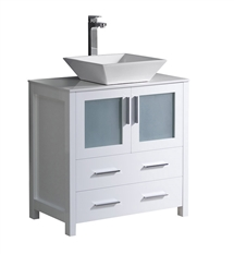 "Fresca Torino 30"" White Modern Bathroom Cabinet with Top & Vessel Sink"