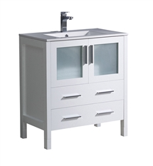"Fresca Torino 30"" White Modern Bathroom Cabinet with Integrated Sink"