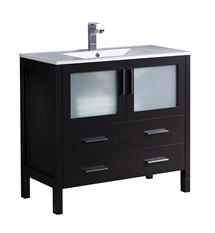 "Fresca Torino 36"" Espresso Modern Bathroom Cabinet with Integrated Sink"