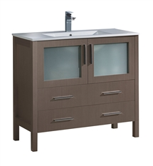 "Fresca Torino 36"" Gray Oak Modern Bathroom Cabinet with Integrated Sink"