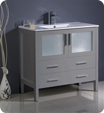 "Fresca Torino 36"" Grey Modern Bathroom Cabinet with Integrated Sink"