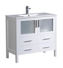 "Fresca Torino 36"" White Modern Bathroom Cabinet with Integrated Sink"
