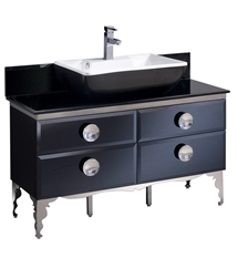 "Fresca Moselle 48"" Modern Glass Bathroom Cabinet with Top & Vessel Sink"