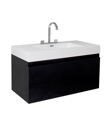 "Fresca Mezzo 39"" Black Modern Bathroom Cabinet with Integrated Sink"