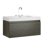 "Fresca Mezzo 39"" Gray Oak Modern Bathroom Cabinet with Integrated Sink"
