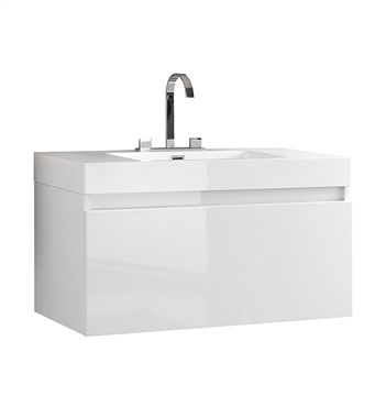 "Fresca Mezzo 39"" White Modern Bathroom Cabinet with Integrated Sink"