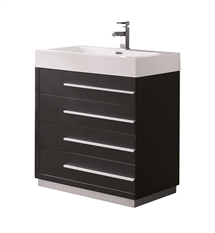 "Fresca Livello 30"" Black Modern Bathroom Cabinet with Integrated Sink"