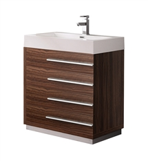 "Fresca Livello 30"" Walnut Modern Bathroom Cabinet with Integrated Sink"