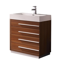 "Fresca Livello 30"" Teak Modern Bathroom Cabinet with Integrated Sink"
