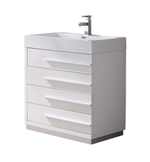 "Fresca Livello 30"" White Modern Bathroom Cabinet with Integrated Sink"