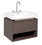 "Fresca Potenza 28"" Gray Oak Modern Bathroom Cabinet with Vessel Sink"